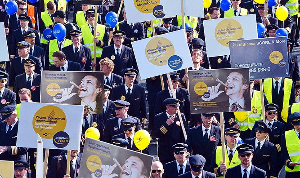 Lufthansa отменила половину рейсов из-за забастовки пилотов