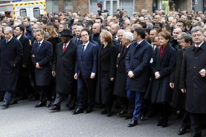 В Париже прошел марш единства в память о погибших в терактах